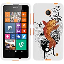 MINITURTLE, Slim Fit Graphic Design Image 2 Piece Snap On Protector Hard Phone Case Cover, Stylus Pen, and Clear Screen Protector Film for Prepaid Windows Smartphone Nokia Lumia 635 from /AT&T, /T Mobile, /MetroPCS (Koi Fish)