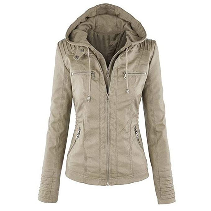 Benlet Women Casual Hooded Long Sleeve Double Zip Jacket Coat Outwear Leather