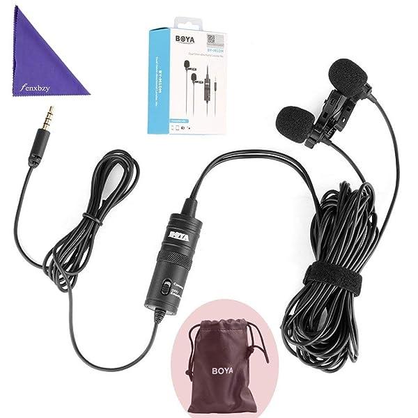 BOYA BY-M1DM MICRÓFONO LAVALIER UNIVERSAL DUAL - un conector estéreo 1/8 sencillo Smartphones DSLR Camears Videocámaras