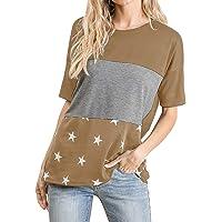 JENJON Mujer Camisetas Bloques Color Elegante Manga Corta Estrella T-Shirt Casual Algodón Blusa