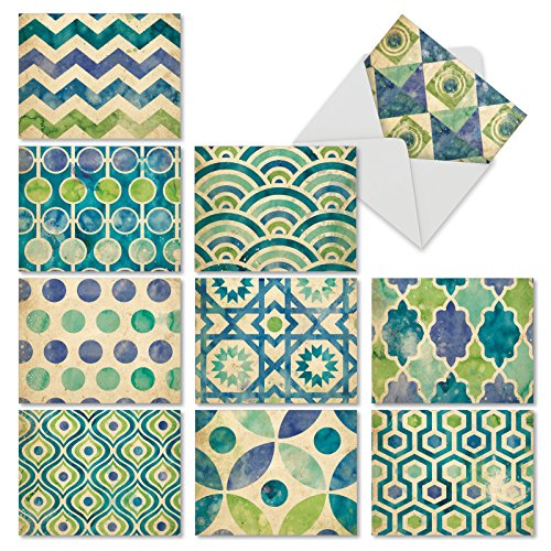 Recycled Blank Cards (M6685OCB Watercolor Tiles: 10 Assorted Blank All-Occasion Note Cards Featuring Beautiful Watercolor Patterns in Luscious Shades of Blue and Green, w/White Envelopes.)
