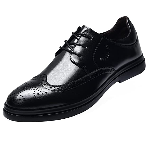 Jamron Hommes Cuir Véritable Élégant Brogue Oxfords Chaussures Vêtements Formelle Fête Mariage Derby Dentelles Chaussures 57joc
