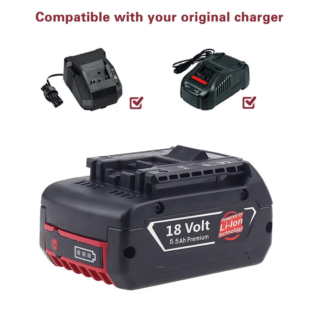 2X 5.5Ah Lithium-ion de remplacement batterie pour Bosch 18V BAT609 BAT609G BAT610G BAT618G BAT619 BAT621 BAT620 Outil /électrique sans fil