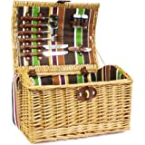 The Newgrove Picnic Basket - Luxury Wicker 2 Person Fitted Hamper with Accessories & Shoulder Strap - Gift ideas for Mum, Mothers Day, Wedding, Anniversary, Birthday Corporate, Business gifts, him, her