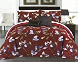 Italian Collection Embroidered 300 Thread Count 100% Natural Pima Cotton Reversible 5 Pieces Duvet Cover Set, Queen size, Red Floral Design