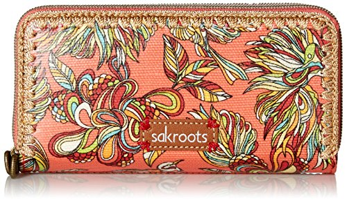 Sakroots Artist Circle Double Zip Wallet, Coral Treehouse, One Size