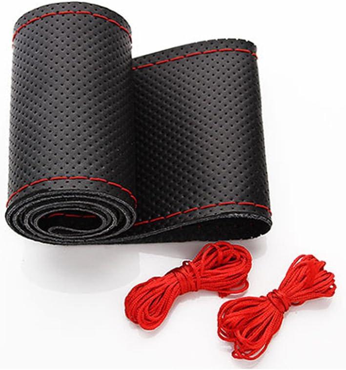 XFAY HX-508 Piel cosida a mano Funda de volante Funda Cubierta de Volante Coche Microfibra de cuero DIY Fundas para Agujas e hilo - 36CM Negro+Rojo