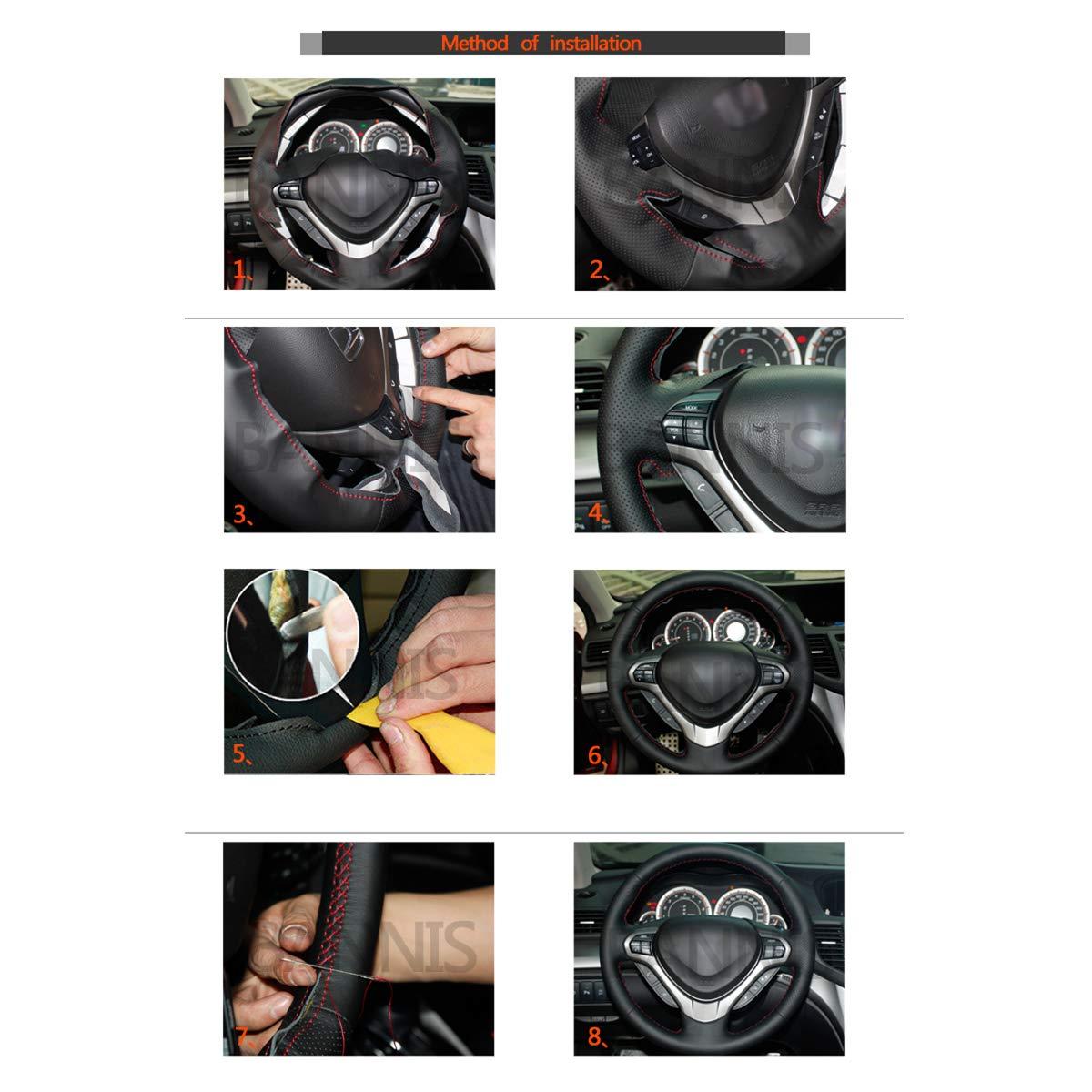 Shining wheat Funda para Volante de Piel sint/ética de Color Negro Brillante para Infi FX FX35 FX37 FX50 QX70 para Juke Maxima 370Z Sentra SV