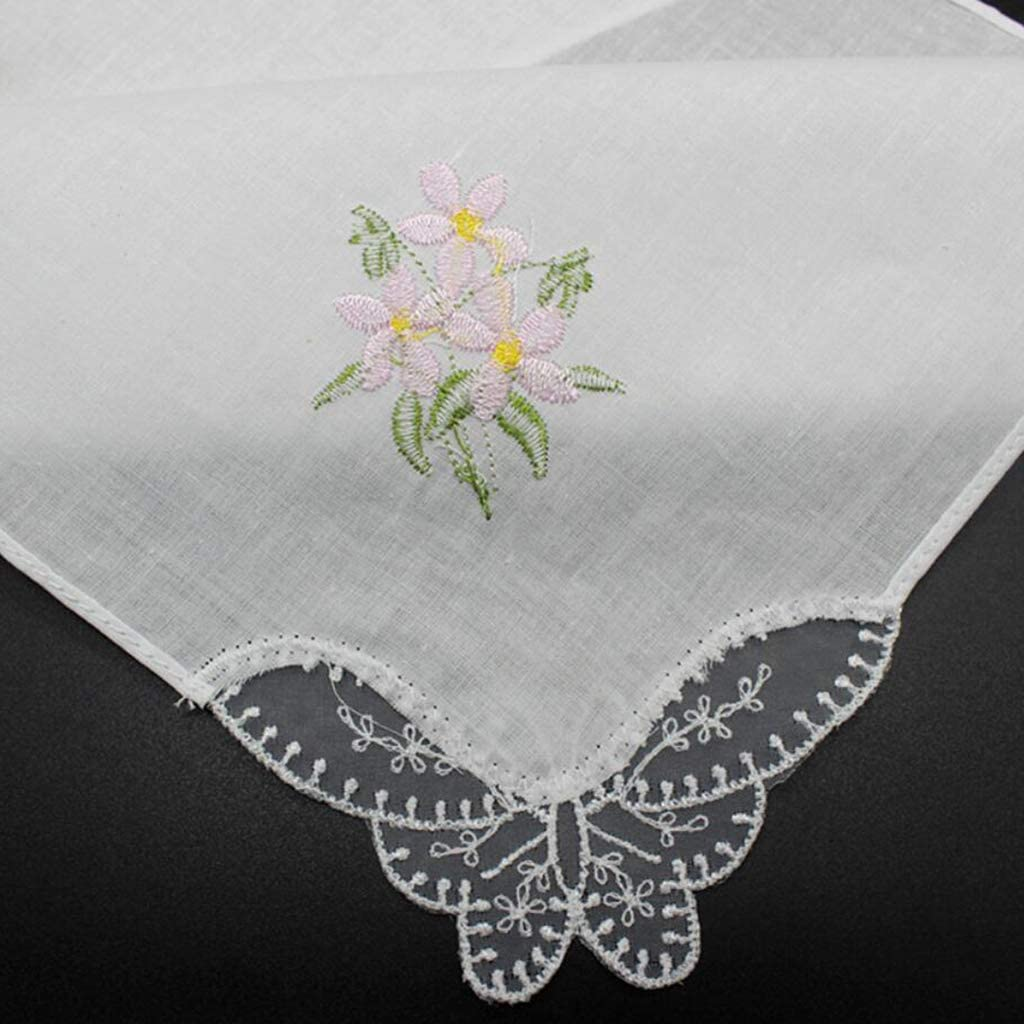 IPOTCH 5 Pieces Womens Beautiful Cotton Floral Lace Handkerchief Wedding Party Fabric Hanky
