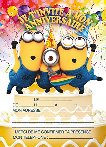 10 cartes invitation anniversaire minions avec des enveloppes