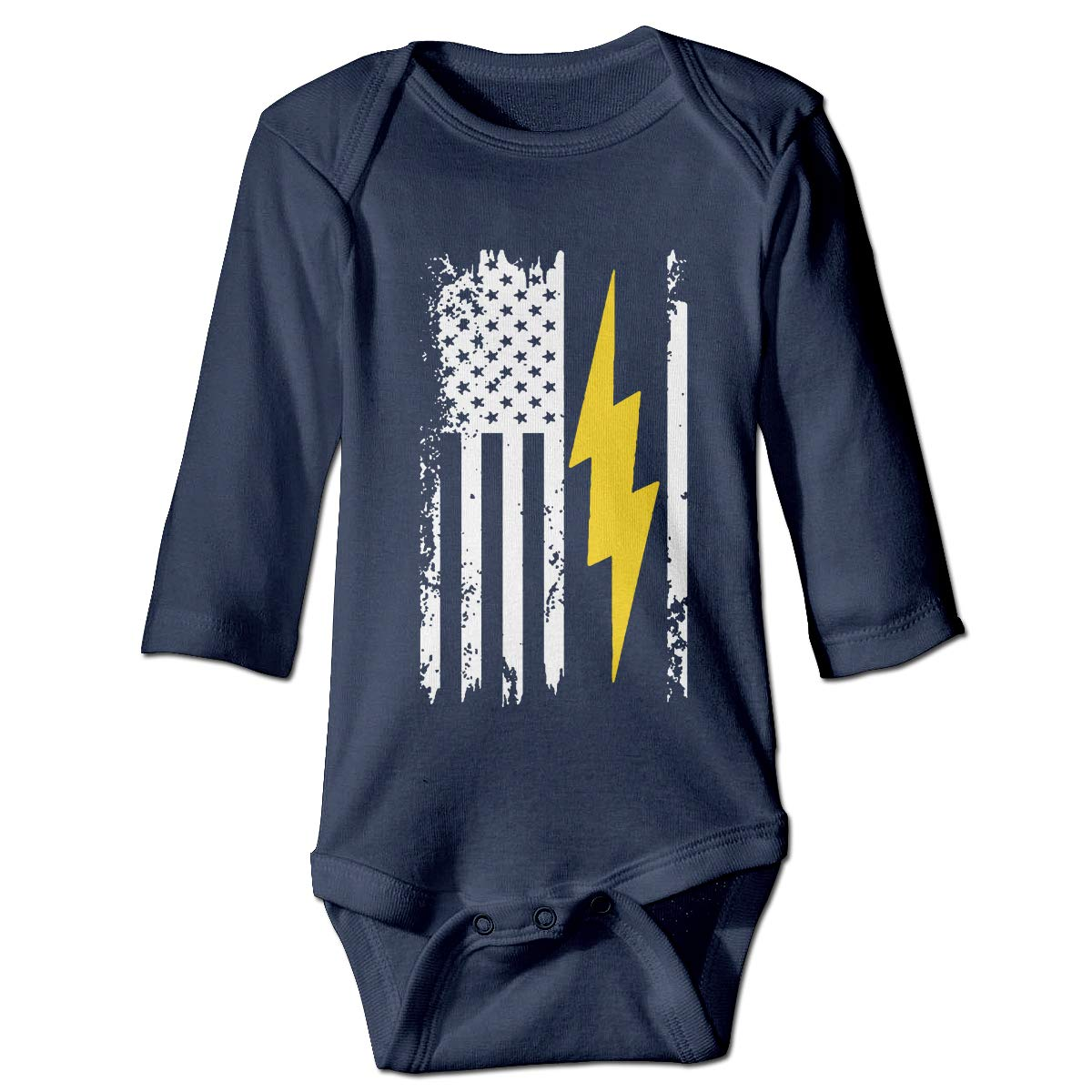 MMHOME Unisex Cotton Long Sleeve American Flag Lightning Bolt Electrician Baby Kids Sleeveless Onesies Outfits Navy