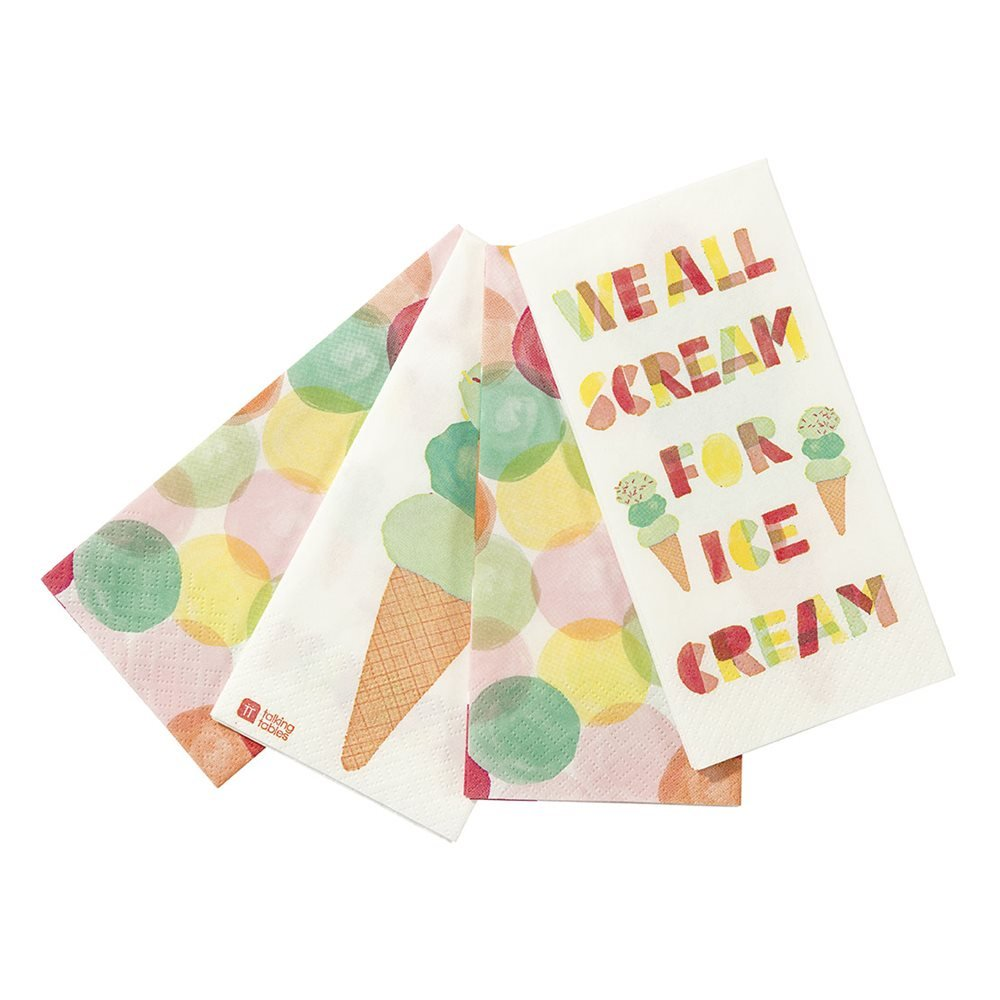 Talking Tables We Heart Ice Cream Disposable Napkins with Ice-cream design for a Birthday or Summer Party, Multicolor (20 Pack)