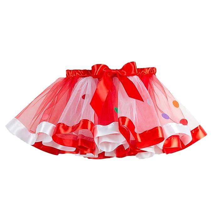 QinMM Falda de Baile de Fiesta de Navidad del tutú para 2-11 años ...