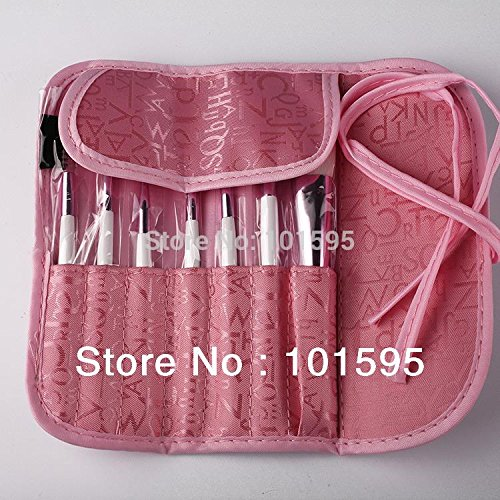 Ascentan(TM)2015 Hot Selling!! 7pcs Eyeliner brush Professional Makeup brushes Eyeshadow brush with pink sequined bag