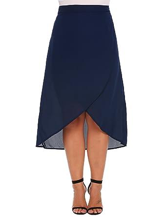 8ca60c255f8 Vestyle Plus Size High Waist Front Slit Irregular Chiffon Midi Skirt for  Women