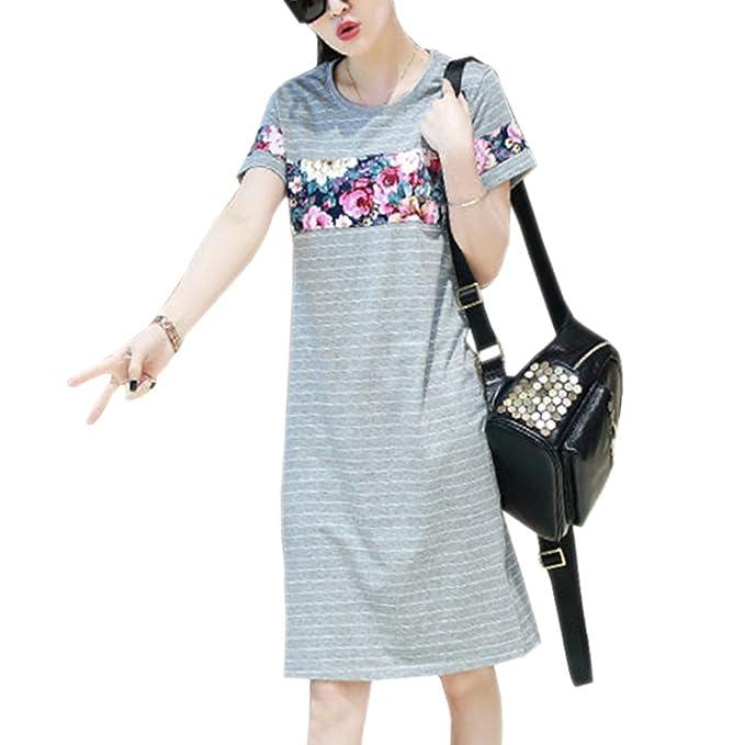 fbefcce2d ZEVONDA Moda Vestido de Maternidad Elegante Mujer Verano Embarazada  Vestidos de Lactancia de Manga Corta a