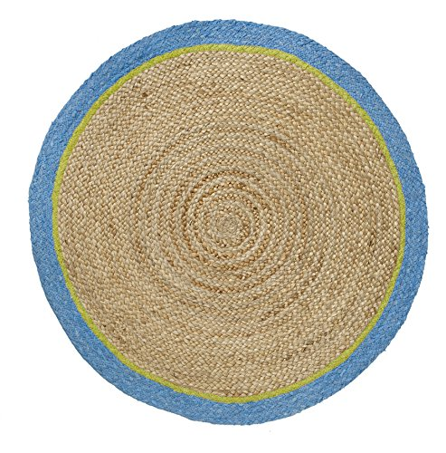 (HF by LT Boho Market Ava Braided Round Jute Rug with Cotton Border, 3', Reversible, Durable and Sustainable Handwoven Jute, Cornflower, 4 Colors Available )