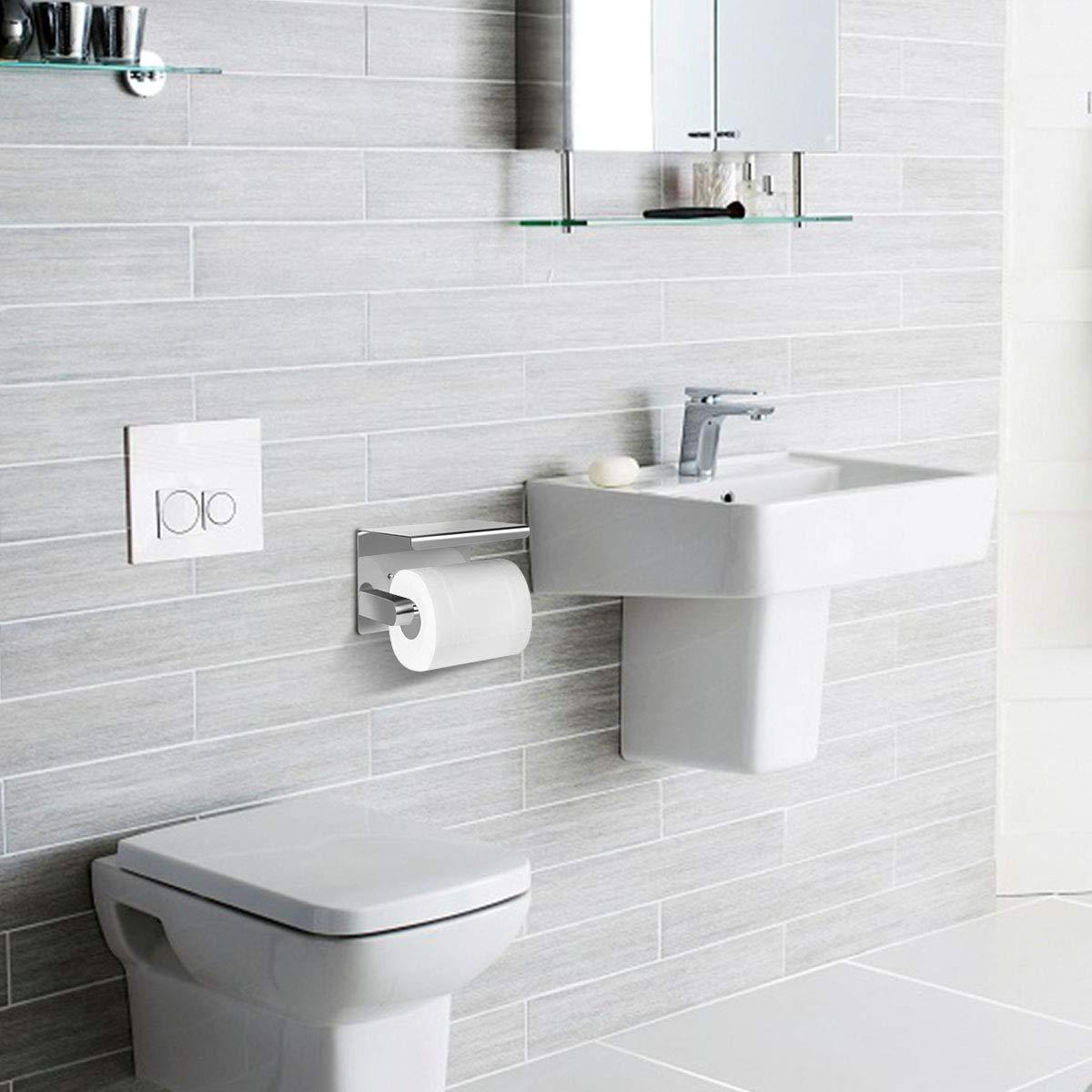 Toilettenpapierhalter Ohne Bohren mit Ablage,SanGlory klorollenhalter Selbstklebend Toilettenpapierrollenhalter Edelstahl Klopapierhalter Wc Papier Halterung Rollenhalter Klorollenhalter zum Kleben
