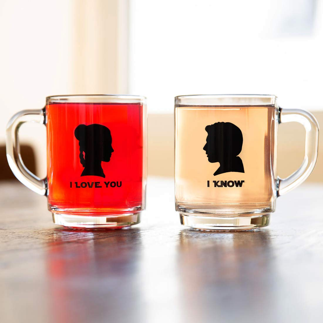 Silhouette Tea Glass Set Inspired by Star Wars Movies Two Cups with Black Print Portraits of Han Solo and Princess Leia Organa I Know getDigital I Love You