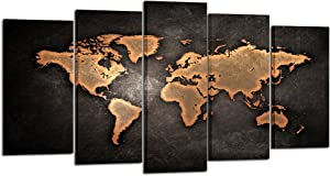 Kreative Arts - Retro World Map Poster Framed 5 Pcs Giclee Canvas Prints Vintage Abstract World Map Painting Printed on Canvas Ready to Hang for Living Room Office Decor Gift (Large Size 60x32inch)