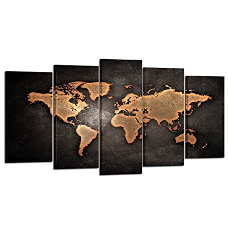 Amazon kreative arts retro world map poster framed 5 pcs kreative arts retro world map poster framed 5 pcs giclee canvas prints vintage abstract world gumiabroncs Gallery