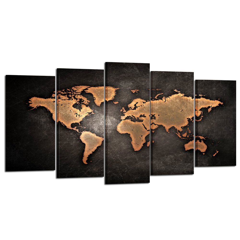 Kreative arts retro world map poster framed 5 pcs giclee canvas kreative arts retro world map poster framed 5 pcs giclee canvas prints vintage abstract world map painting printed on canvas ready to hang for living room gumiabroncs Image collections