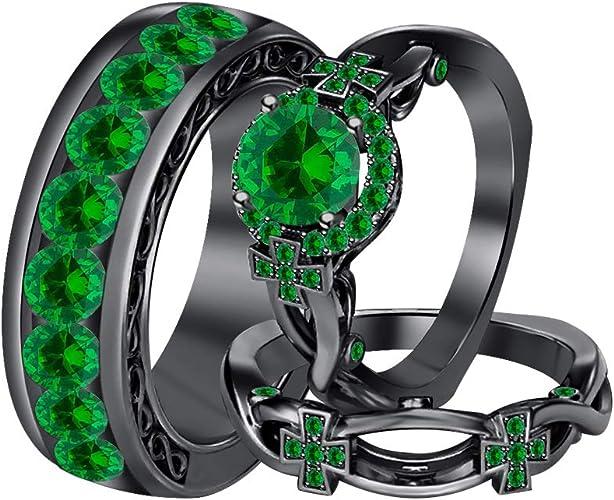 Handmade Princess cut Green Emerald 925 Silver Filled Wedding Gift Band Rings