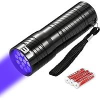 LE Linterna Ultravioleta Led, Linterna UV Detectar manchas, orina de mascotas, 12 LED Luz negra 395nm, Pilas incluidas