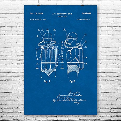 Cousteau Diving System Poster Print, Scuba Diver Gift, Dive Instructor, Swim Instructor, Jacques Cousteau, Vintage Scuba Blueprint (12