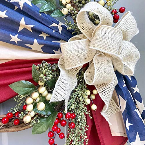 Independence Day Door Wreaths, Spring Garland for Outdoor, Handmade Patriotic Porch Decoration Outdoor Hanging Decor, Fourth of July and Veterans Day Gifts, Everyday Wreaths for Yard Farmhouse Decor