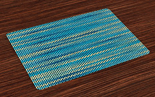 (Lunarable Yellow and Blue Place Mats Set of 4, Knitted Melange Inspired Graphic Clothing Texture Pattern, Washable Fabric Placemats for Dining Room Kitchen Table Decor, Yellow Navy )