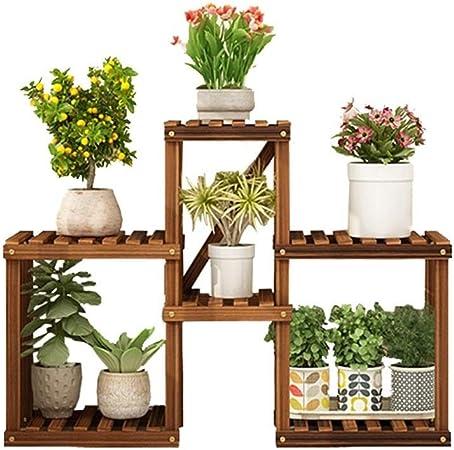 HShj Soporte de Exhibición de Plantas de Jardín de Múltiples Capas Soporte de Flores Multifunción, Soporte de Piso de Decoración de Balcón de Madera, Adecuado para Terrazas, Porches, Jardines, Etc.: Amazon.es: Hogar