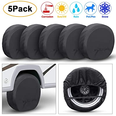 TRAVER DREAM Tire Covers Set of 5 for Rv Travel Trailer Camper, Wheel Covers Sun Rain Frost Snow Protector, Waterproof Tire Protectors, Black, Fits 27-33 Inch Tire Diameter: Automotive