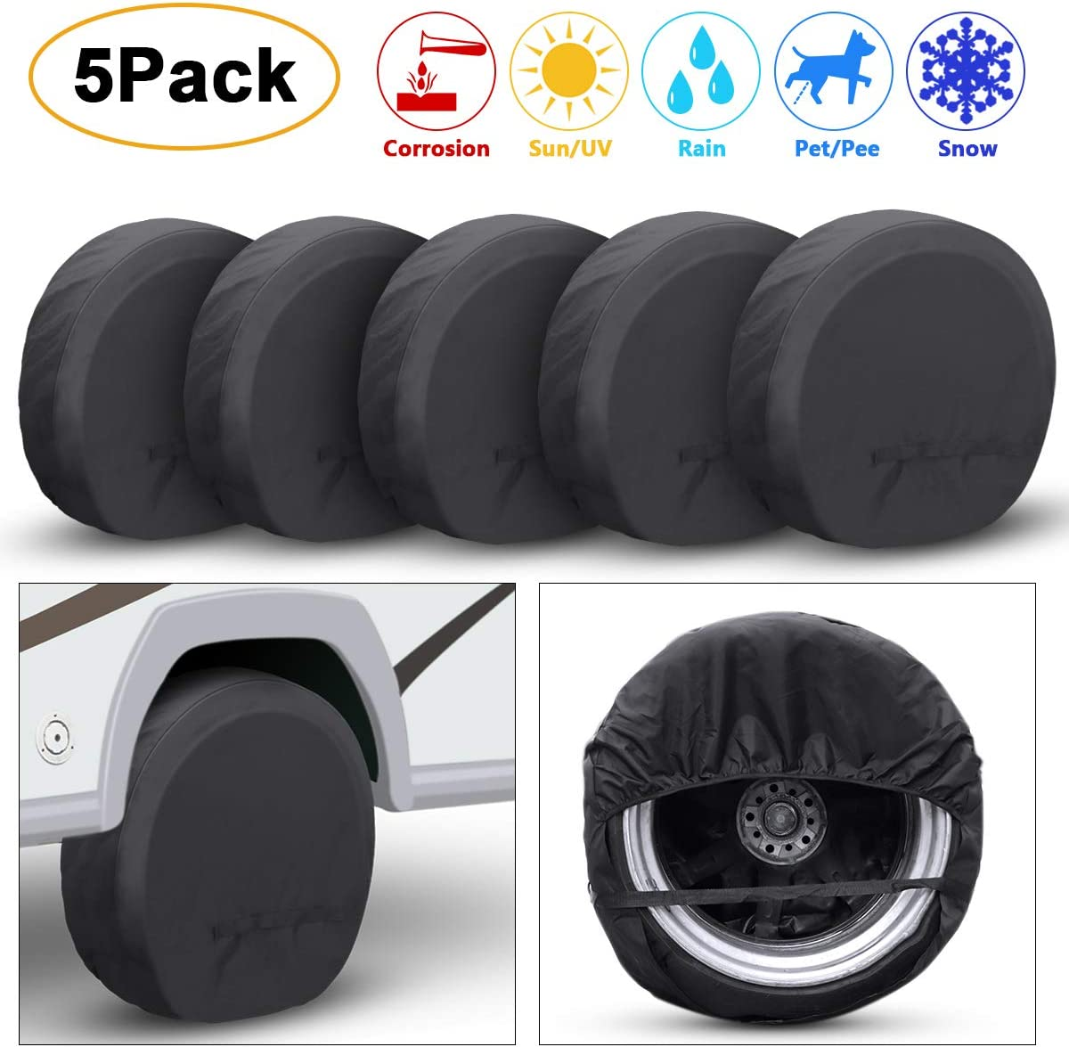 TRAVER DREAM Tire Covers Set of 5 for Rv Travel Trailer Camper, Wheel Covers Sun Rain Frost Snow Protector, Waterproof Tire Protectors, Black, Fits 27-33 Inch Tire Diameter