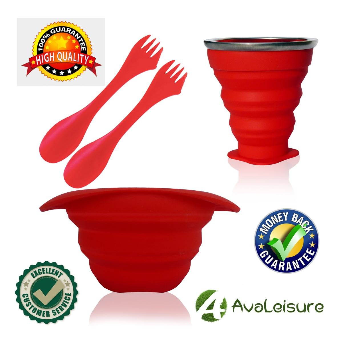 AVALEISURE COLLAPSIBLE SILICONE TRAVEL CUP- the Genuine 10oz Foldable Drinking Mug with Lid, BPA Free, Water, Coffee, Tea & Snacks for Hiking, Camping, Picnic & Commuting to Work by AVALEISURE (Image #9)