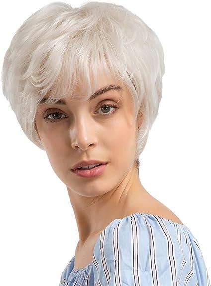 Sencillo Vida Pelucas Mujer Blanca Corto Pelo Natural Wigs Lisa ...