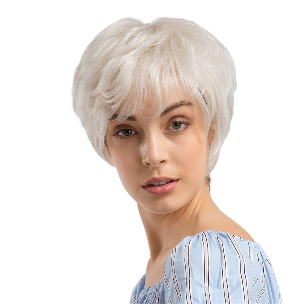 Wig,SUPPION 24cm White Short Curly Hair Hairstyle Human Hair Wigs for Beautiful and Generous for Women - Casual/Cosplay/Party Wig (A)