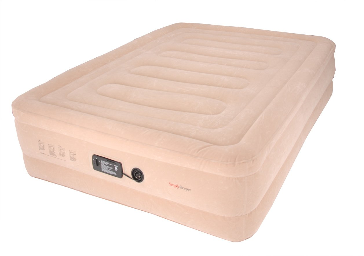 SimplySleeper FL-89Q Raised Inflatable Mattress w/ Flocked Top & Side Material - NEW! Built-in Auto-Stop Electric Pump and Sure Grip Bottom (Includes Travel bag and Repair Kit) by SimplySleeper (Image #1)