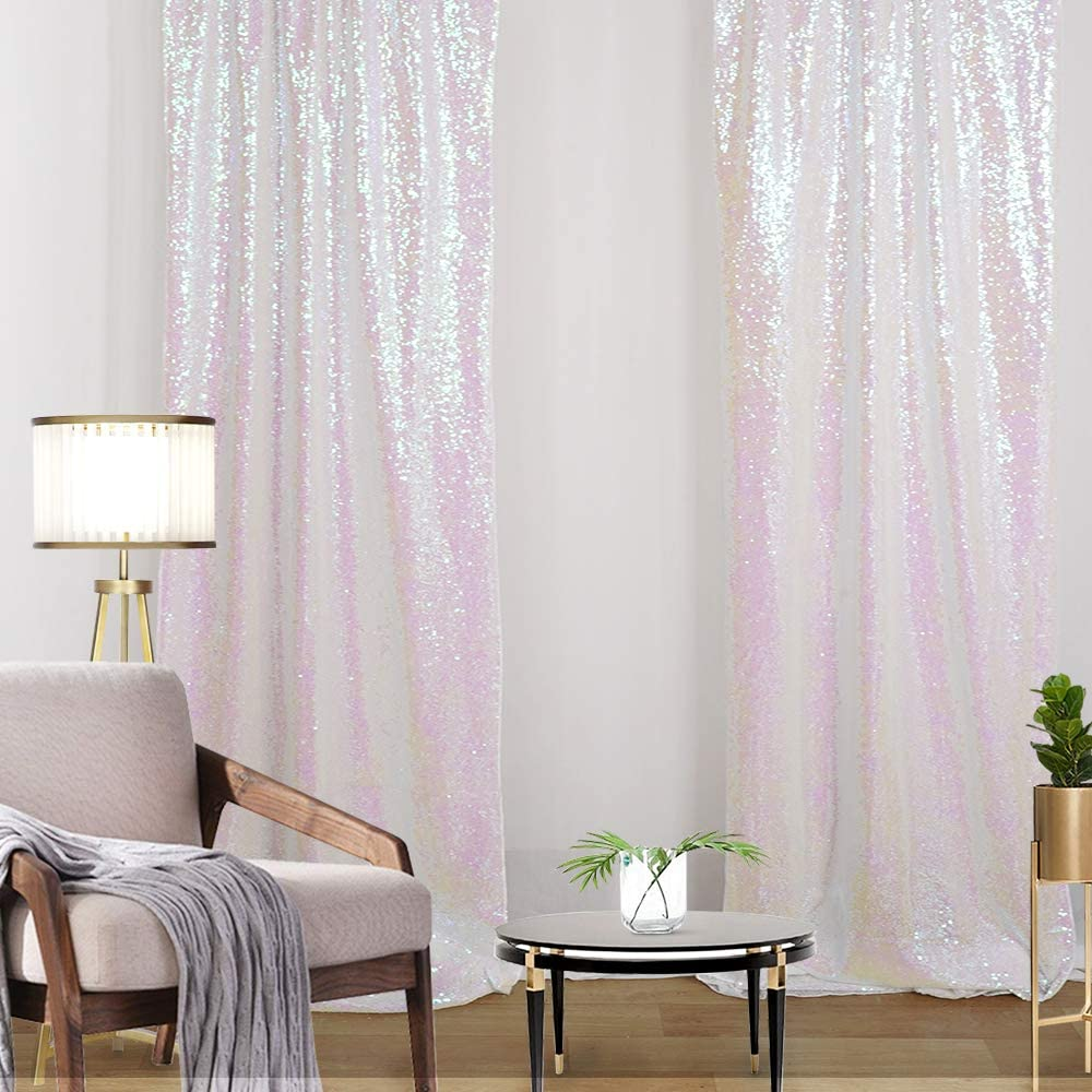 2FTx8FT White Iridescent Glitter Sequin Backdrop Panels Stage 2 Pieces Wedding Party Background Curtains Drapes
