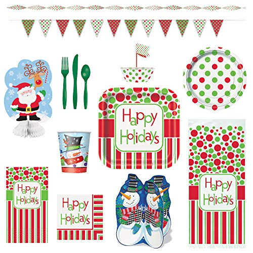 Christmas Holiday Party Supplies (Happy Holidays) - 109 Piece Set for 8 Guests for $<!--$12.49-->