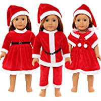 Barwa 3 Fashion Santa Claus Clothes Outfits Dresses for American Girl Dolls and Other 16 - 18 Inch (40cm - 46cm)