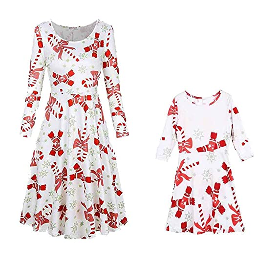 0799ef0cc834 Mother Daughter Matching Christmas Dresses Mommy and Me Long Sleeve A Line Xmas  Dress (2T
