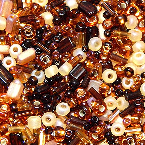 (CZECH SEED BEAD MIXES MULTI SHAPE MULTI COLOR and FINISHES 25grams FREE SHIPPING (Mahogany Wood))