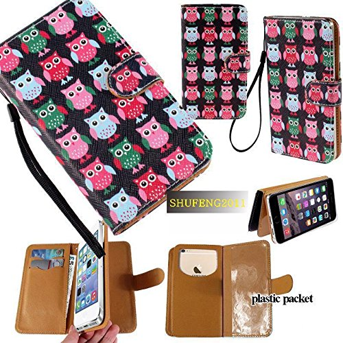 Universal PU Leather Purse/Clutch/Pouch/Wallet Fits Apple Samsung LG Motorola etc. Women's Cute Wristlet Strap Flip Case Cute Little Owls Birds - Medium. Fits the Models - Case Cover V3 Faceplate Razr