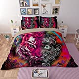 Fantastic Bright Abstract Tiger Head with Half Skull Cotton Microfiber 3pc 80''x90'' Bedding Quilt Duvet Cover Sets 2 Pillow Cases Full Size