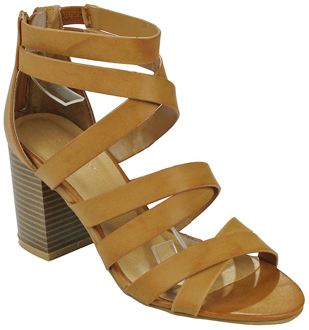 JJF Shoes Women Criss Cross Open Toe Gladiator Roman Chunky Stacked Block Heel Ankle Dress Sandal B07B1YFP8Z 6 B(M) US|Cognac