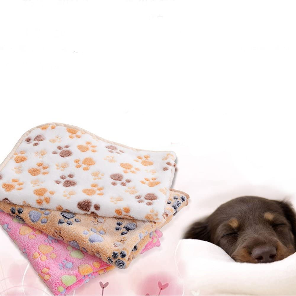 TXIN Puppy Paw Prints Coral Fleece Pet Blanket Pink Pet Blankets Dog Quilt Small Animial Mats-beige