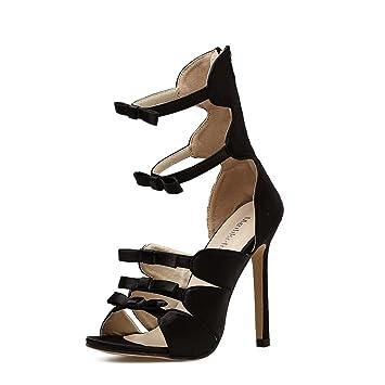 Damen Hohl Pumps Stiletto Klub GZSL-W8 Mode Bowknot Open Toe Plateau Stiletto High Heel Pumps Party Hochzeit Schuhe...