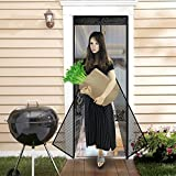 Magnetic Screen Door Top to Bottom Close Automatically Tightly Mesh Isolate Bugs mosquito fly screens with a One-year of customer warranty ( 34×82 inch)-Black