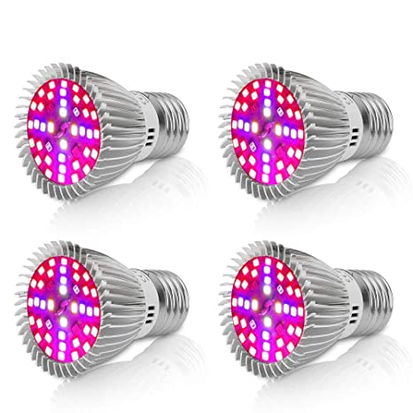 Derlights Led Grow bombilla, E27 40W de repuesto espectro completo Led Grow bombilla, SMD2835